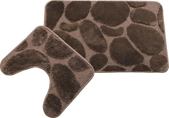 Комплект ковриков для ванной MAC Carpet Фремонт: Камни, 23032, коричневый, 50 х 80 см, 50 х 40 см, 2 шт коврик для ванной mac carpet розетта цвет коричневый розовый 57 х 60 см