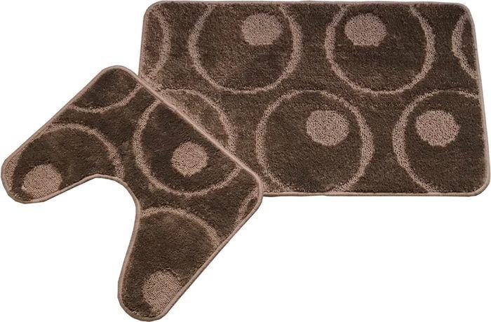 Комплект ковриков для ванной MAC Carpet Фремонт: Круги, 23036, коричневый, 50 х 80 см, 50 х 40 см, 2 шт коврик для ванной mac carpet розетта цвет коричневый розовый 57 х 60 см