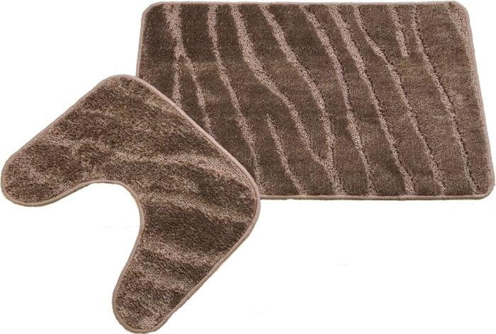 Комплект ковриков для ванной MAC Carpet Фремонт: Линии, 23028, коричневый, 50 х 80 см, 50 х 40 см, 2 шт коврик для ванной mac carpet розетта цвет коричневый розовый 57 х 60 см