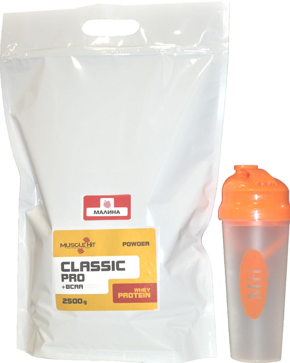 Протеин Muscle Hit Classik Pro + BCAA, малина, 2,5 кг + шейкер bcaa 3300