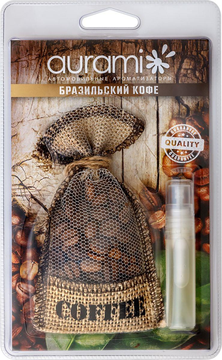 Ароматизатор автомобильный мешочек кофе Aurami Бразильский кофе, COF-101, со спреем 5мл ароматизатор golden snail мешочек кофе mix