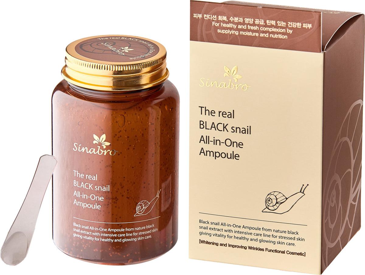 Сыворотка для кожи Sinabro Все-в-одном, с экстрактом настоящей черной улитки, 250 мл для здоровой кожи