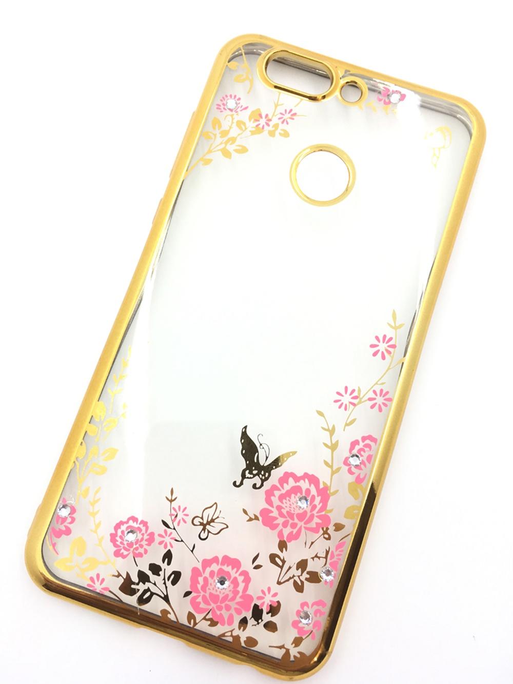 Чехол для сотового телефона Мобильная мода Huawei Nova 2 Plus Силиконовая, прозрачная накладка со стразами, 6 983G, золотой цена и фото