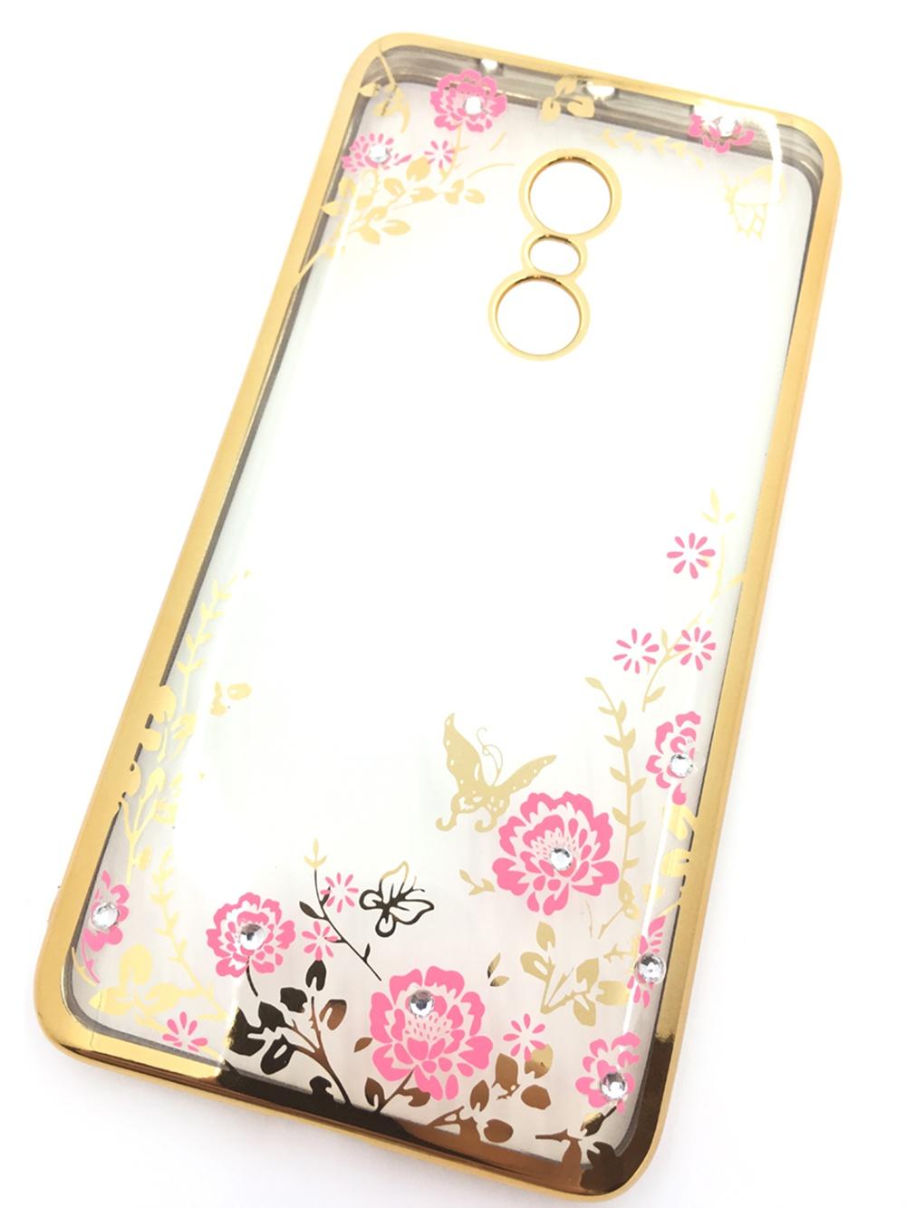 Чехол для сотового телефона Мобильная мода Xiaomi Redmi Note 4 Силиконовая, прозрачная накладка со стразами, 6 344G, золотой чехол для сотового телефона мобильная мода meizu pro 6 силиконовая прозрачная накладка со стразами 6371g золотой