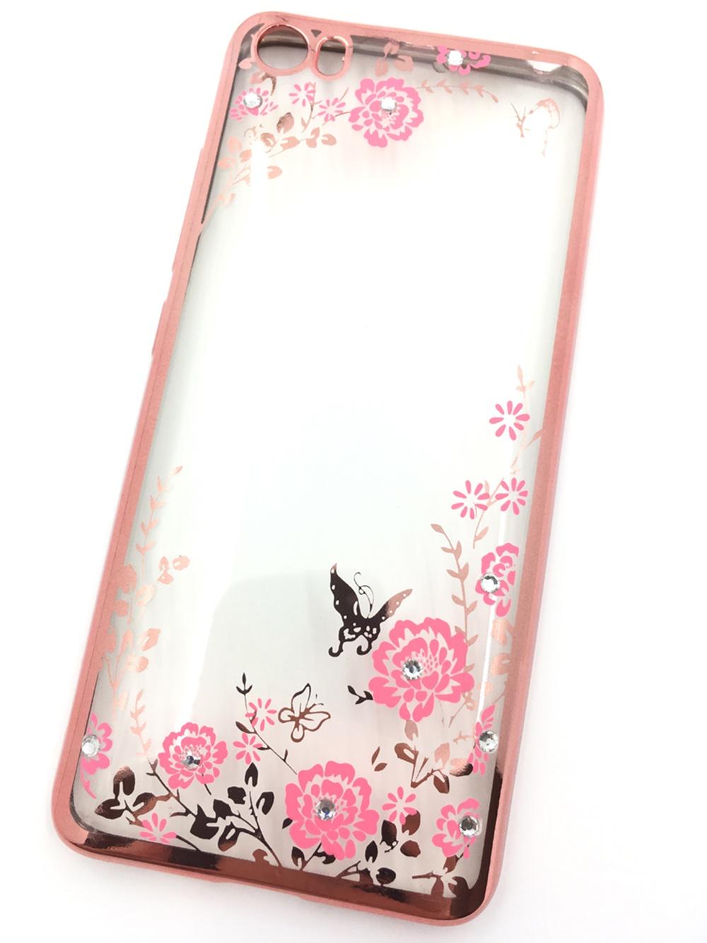Чехол для сотового телефона Мобильная мода Xiaomi Mi5 Силиконовая, прозрачная накладка со стразами, 6 349R, розовый