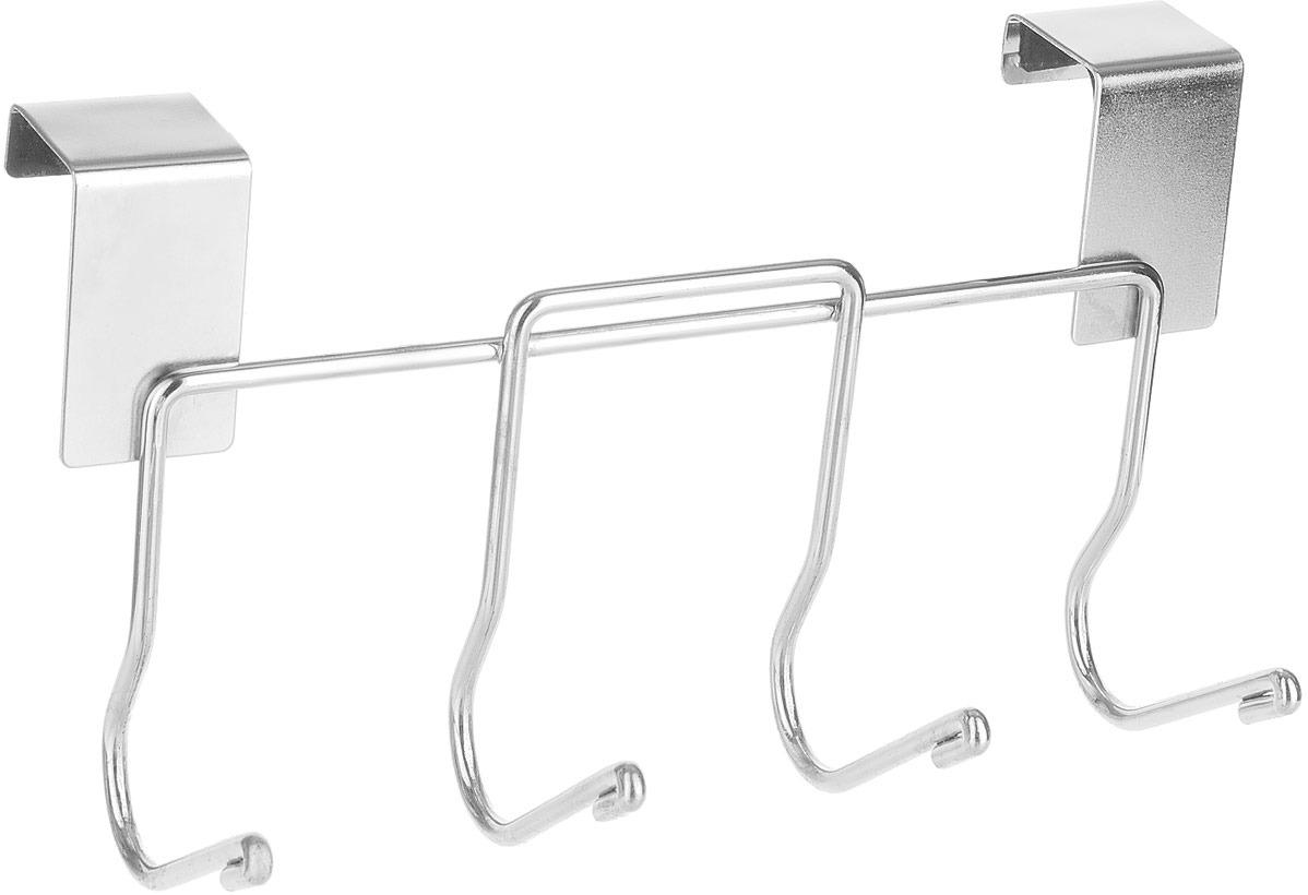 Фото - Планка кухонная Мультидом, навесная, с 4 крючками, длина 18 см планка с 2 крючками мультидом цвет в ассортименте