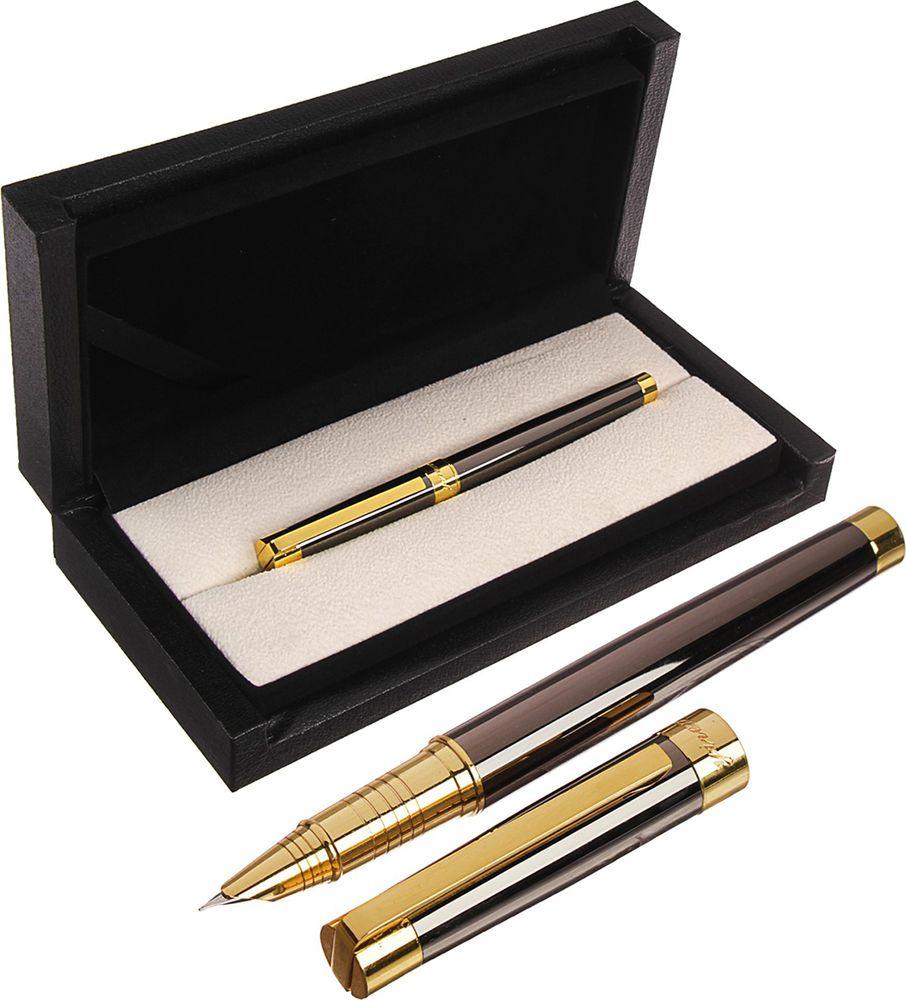Ручка подарочная перьевая Calligrata  Грант , 3604841, в футляре, корпус коричневый, черный