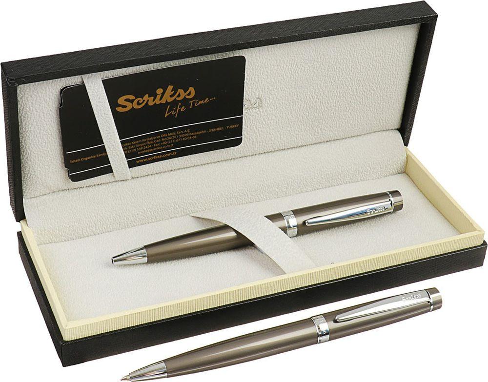 Ручка подарочная шариковая Scrikss Honour 38, 3794763, в футляре, поворотная, корпус серебристый