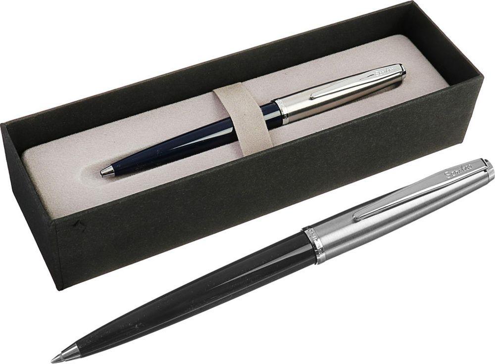 Ручка подарочная шариковая Scrikss Metropolis 78, 3794765, в футляре, автоматическая, корпус серебристый, черный