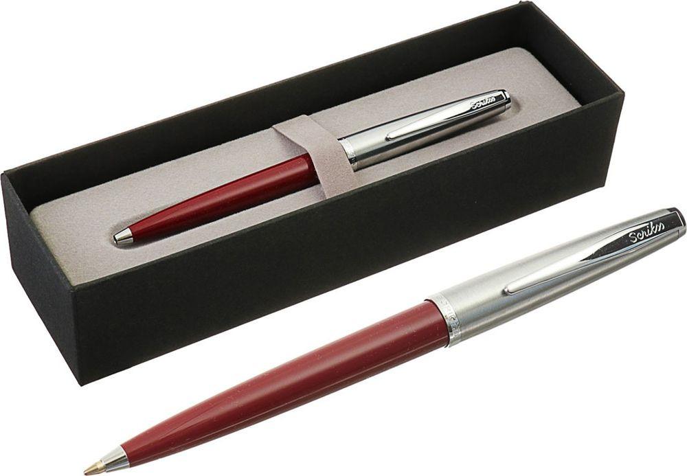 Ручка подарочная шариковая Scrikss Metropolis 78, 3794767, в футляре, автоматическая корпус серебристый, бордовый
