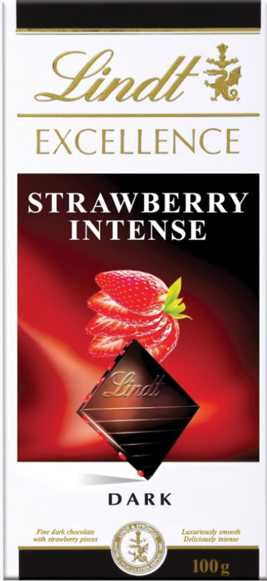 Lindt Excellence темный шоколад с кусочками клубники, 100 г шоколад lindt excellence малина 100г