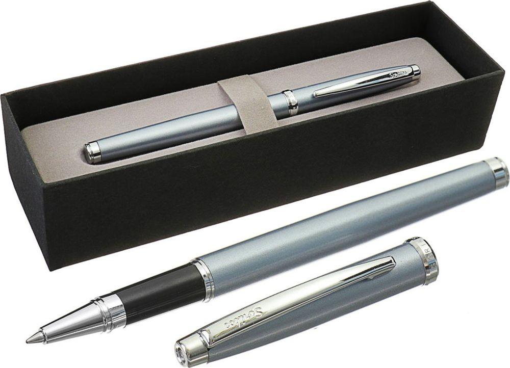 Ручка-роллер подарочная шариковая Scrikss Metropolis 800, 3794785, в футляре, корпус серый