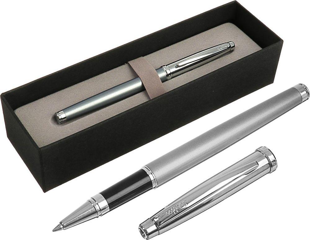 Ручка-роллер подарочная шариковая Scrikss Metropolis 800К, 3794790, в футляре, корпус серебристый