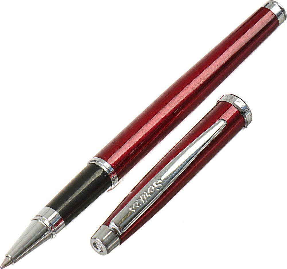 Ручка-роллер подарочная шариковая Scrikss Metropolis 800, 3794796, в футляре, корпус бордовый