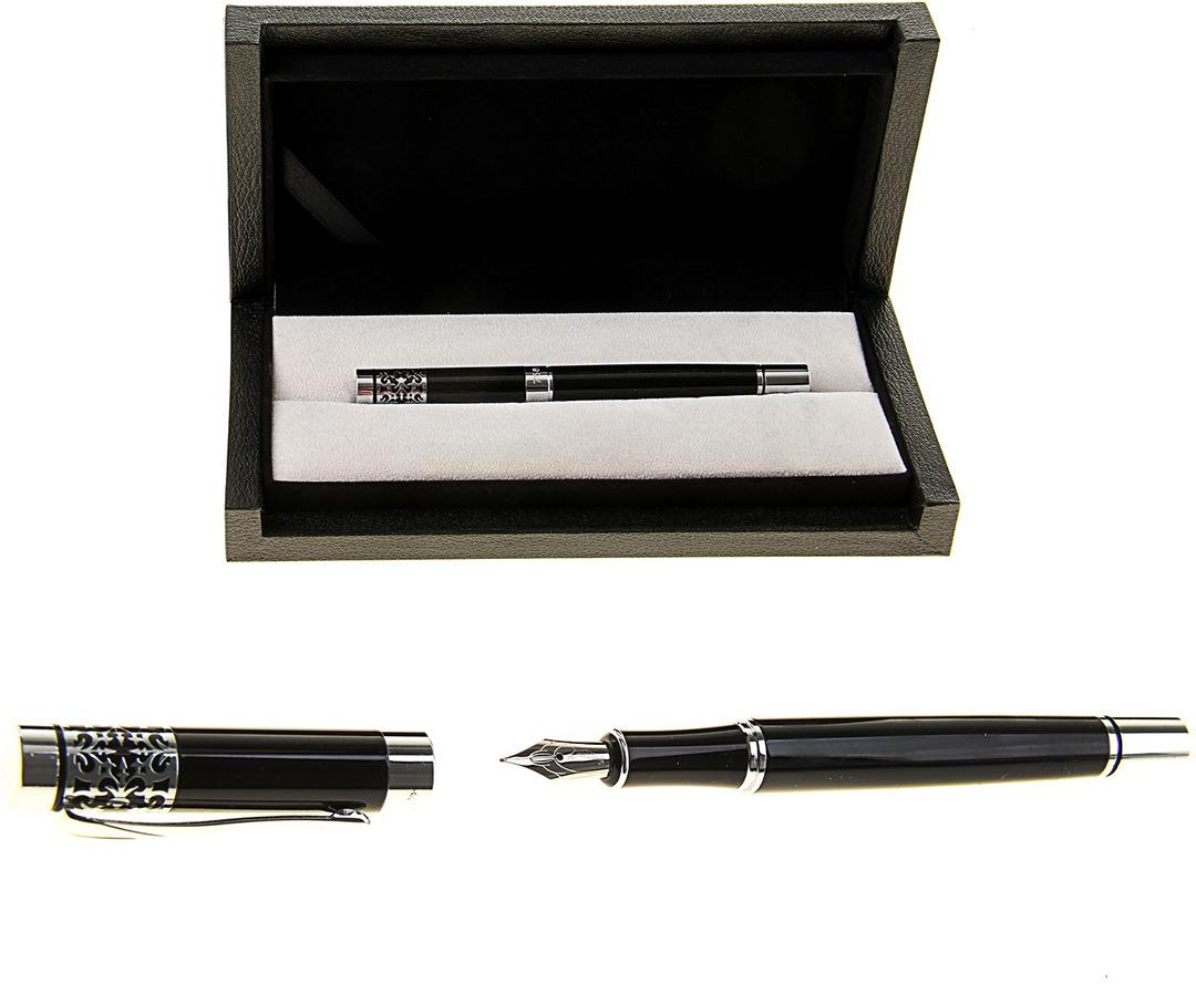 Ручка подарочная перьевая Calligrata  Директор , 102514, в футляре, корпус черный
