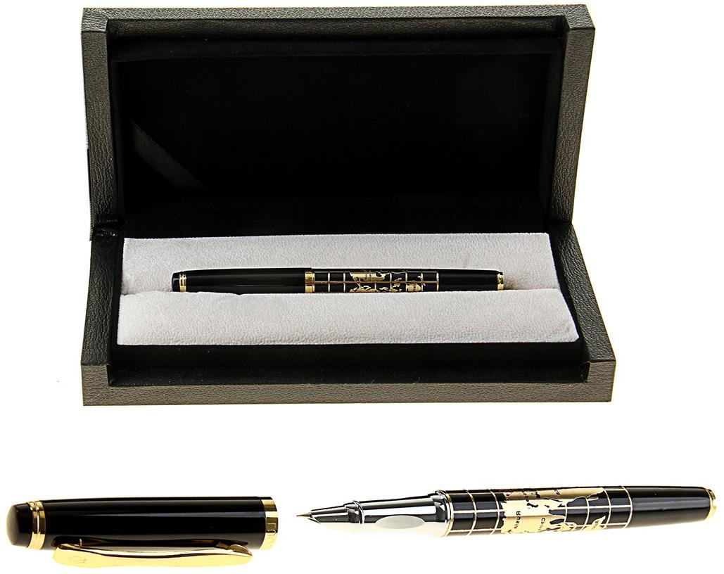 Ручка подарочная перьевая Calligrata  Карта , 102519, в футляре, корпус черный