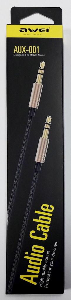 """Кабель аудио премиум """"Awei AUX-001"""" 3,5 AUX, черный, длина 1м"""