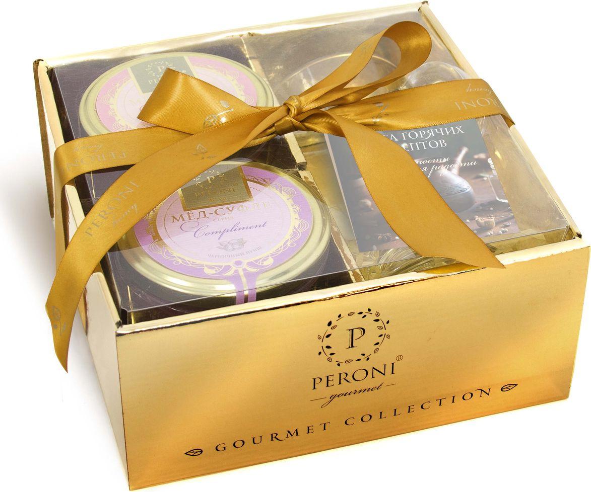 Набор мед-суфле Peroni Новогодний комплимент № 5, 2 шт по 250 г + бокал для глинтвейна + книга рецептов