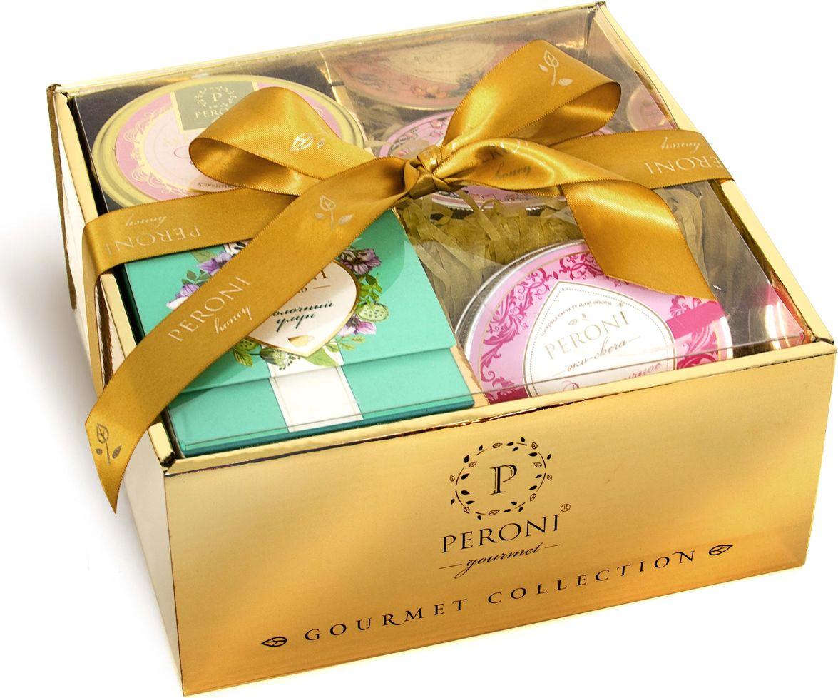 Набор мед-суфле Peroni Новогодний комплимент № 6, 250 г + чай листовой черный, 60 г + эко-свеча, 95 г + мыло медовое, 95 г чай в подарочной упаковке peroni молочный улун