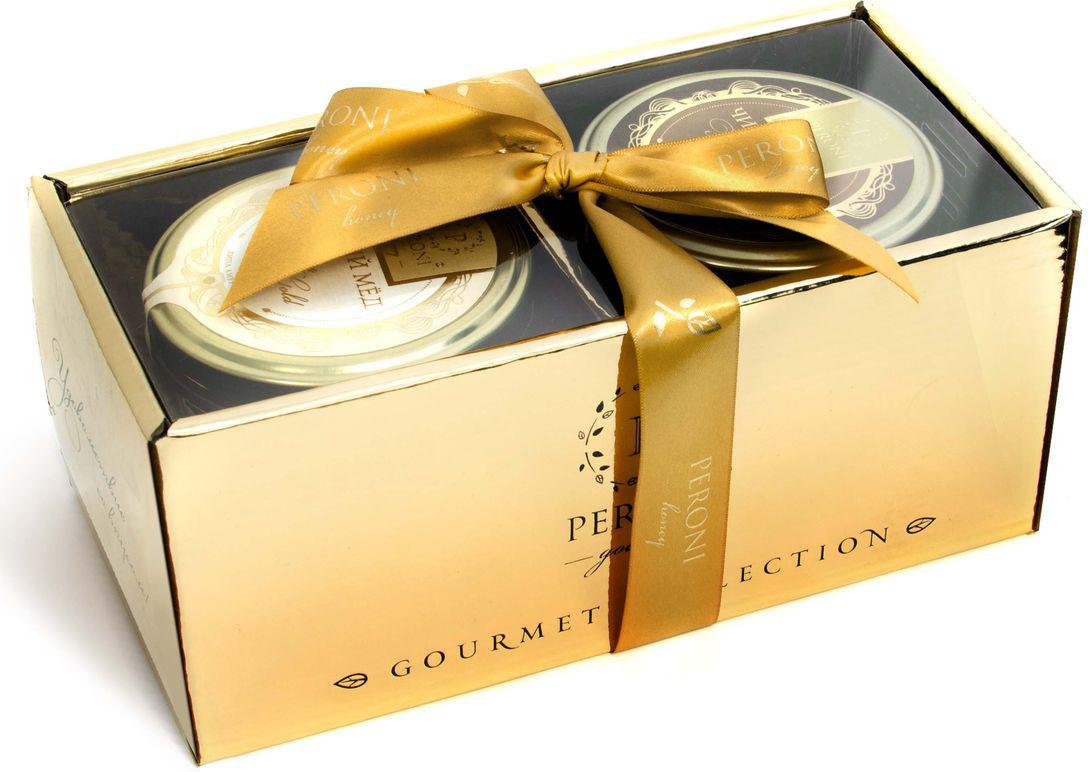 Набор мед Peroni Honey Gold №1, 2 шт по 290 гpk37Серия чистого меда Honey Gold - это роскошный подарок для любого пола и статуса. Это жидкий Чистый мед редких сортов, а также мед с сотами. Каштан, горная липа, гречишный мед -все, что так любят и ценят потребители В составе: Картонная коробка с лентой и прозрачным верхом, Чистый мед Липа амурская 290гр, Гречишный с сотами 290г)