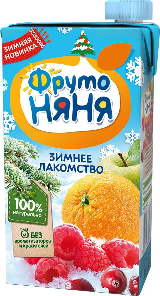 Нектар ФрутоНяня из яблок, апельсинов, клюквы и малины с 3 лет, 0,5 л напитки фрутоняня зимнее лакомство из яблок апельсинов клюквы и малины сс 3 лет 500 мл