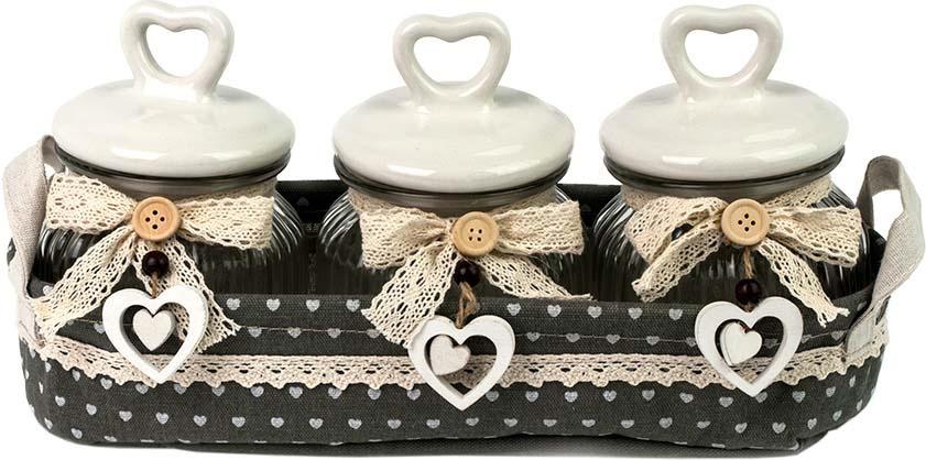 Набор декоративных банок Miralight Прованс, в корзине, BT-1701/3, светло-серый, 3 предмета набор банок для сыпучих и жидких продуктов miralight прованс в корзине 300 мл 2 шт tw 15 2