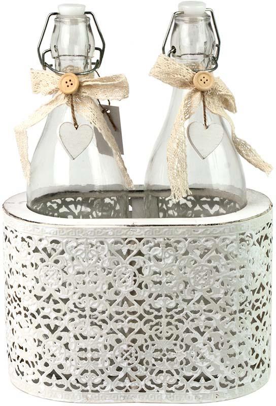 Набор декоративных банок Miralight Прованс, в корзине, PM-17C1-L/2, белый, 1 л х 2 шт набор банок для сыпучих и жидких продуктов miralight прованс в корзине 300 мл 2 шт tw 15 2