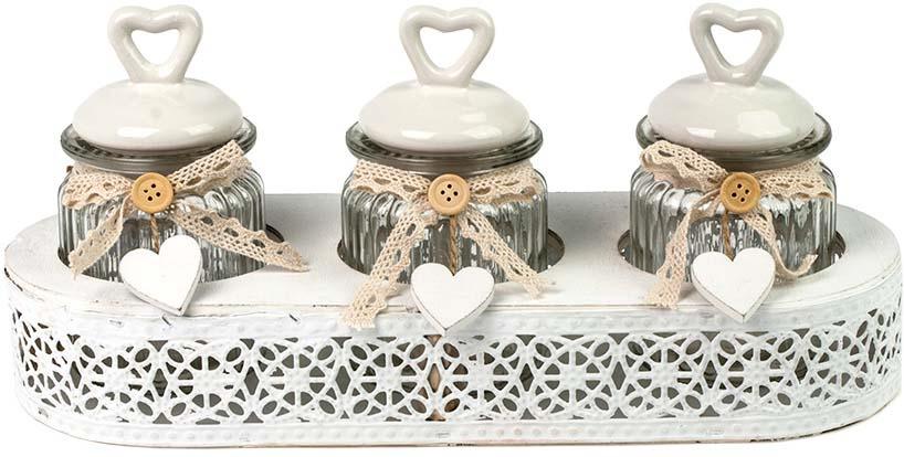 Набор декоративных банок Miralight Прованс, в корзине, PM-17C11/3, белый, 0,3 л х 3 шт набор банок для сыпучих и жидких продуктов miralight прованс в корзине 300 мл 2 шт tw 15 2