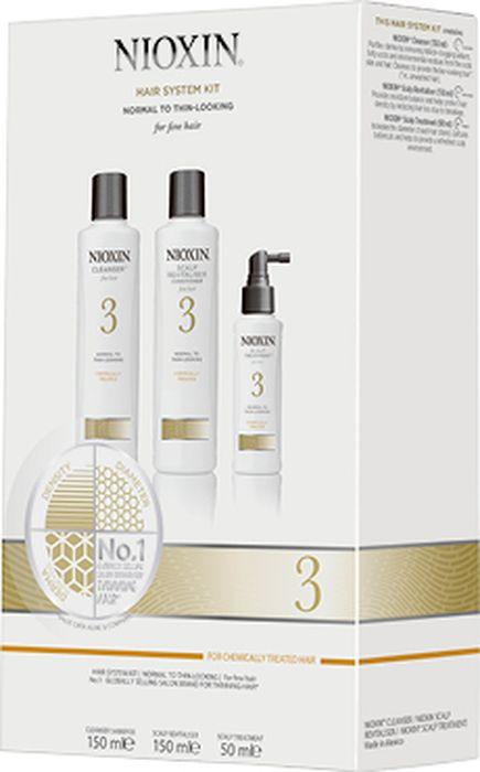 """Косметический набор для волос Nioxin """"Система 3"""", 3 ступенчатый, Шампунь, 150 мл + Кондиционер, 150 мл + Маска для кожи головы, 40 мл"""