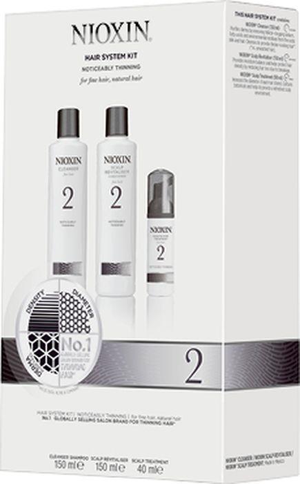 """Косметический набор для волос Nioxin """"Система 2"""", 3 ступенчатый, Шампунь, 150 мл + Кондиционер, 150 мл + Маска для кожи головы, 40 мл"""