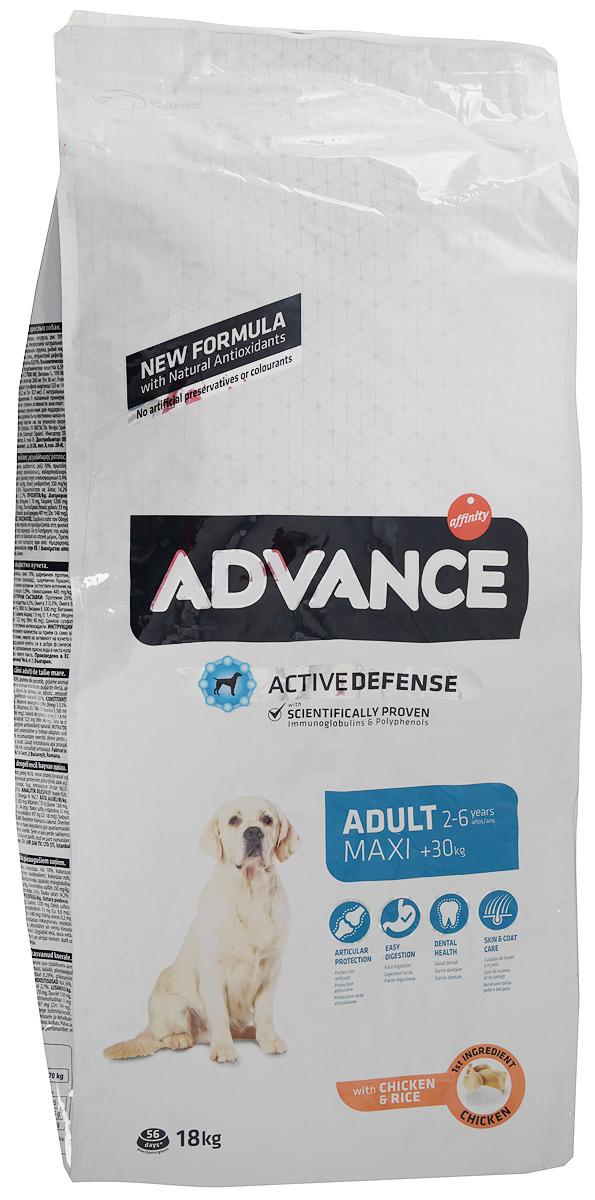 """Корму сухой Advance """"Maxi Adult"""" для взрослых собак крупных пород, с курицей и рисом, 18 кг"""