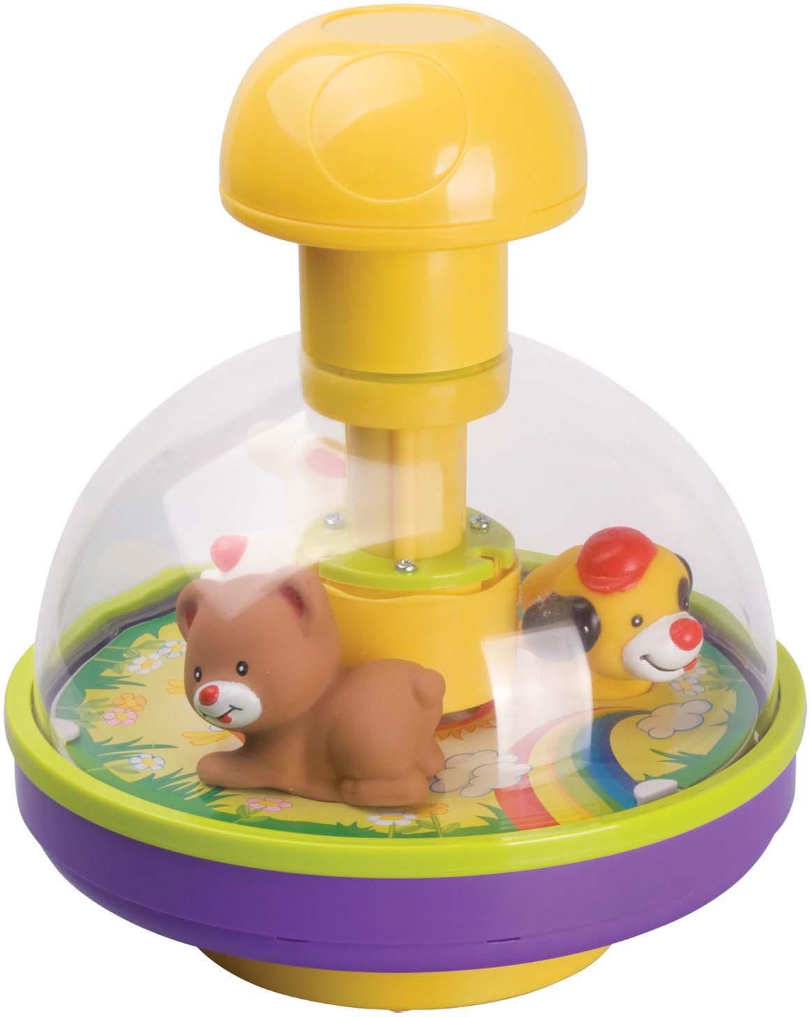 Юла Red Box Волчок, 23124-123124-1Развивающая игрушка Red Box Волчок с веселыми зверятами надолго увлечет вашего ребенка. Чтобы запустить данную игрушку ребенок должен нажать на большую удобную ручку сверху волчка, опустить её вниз до упора, и наблюдать за тем, как под прозрачным колпаком приходят в движение зверята – медвежонок, зайчик и щенок. Зверята начинают крутиться на карусели, бегая по кругу. Рекомендуем!