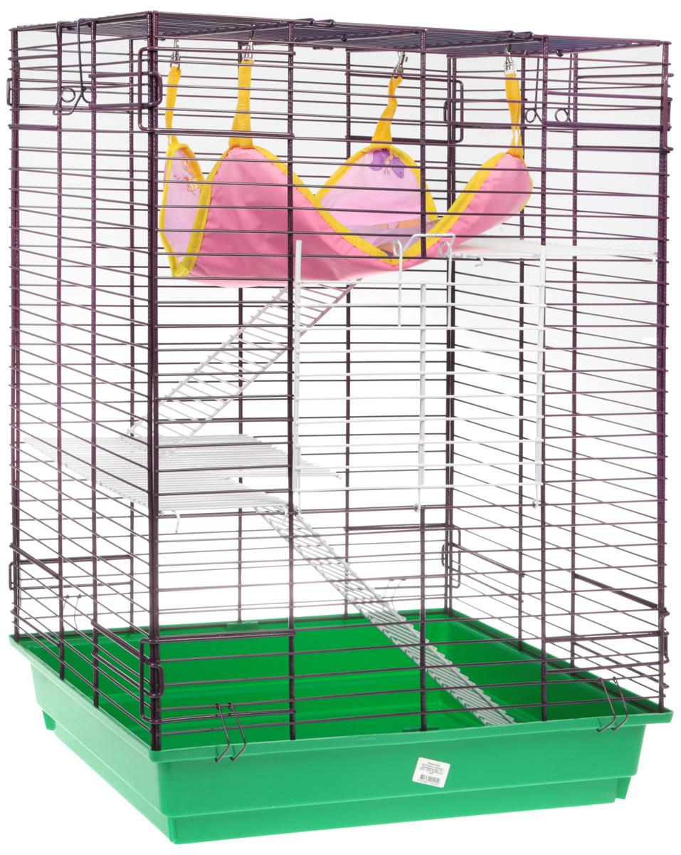 Клетка для шиншилл и хорьков ЗооМарк, 725, зеленый, фиолетовый гамак кроватка для шиншилл и хорьков зоомарк подвесной цвет красный д 12к