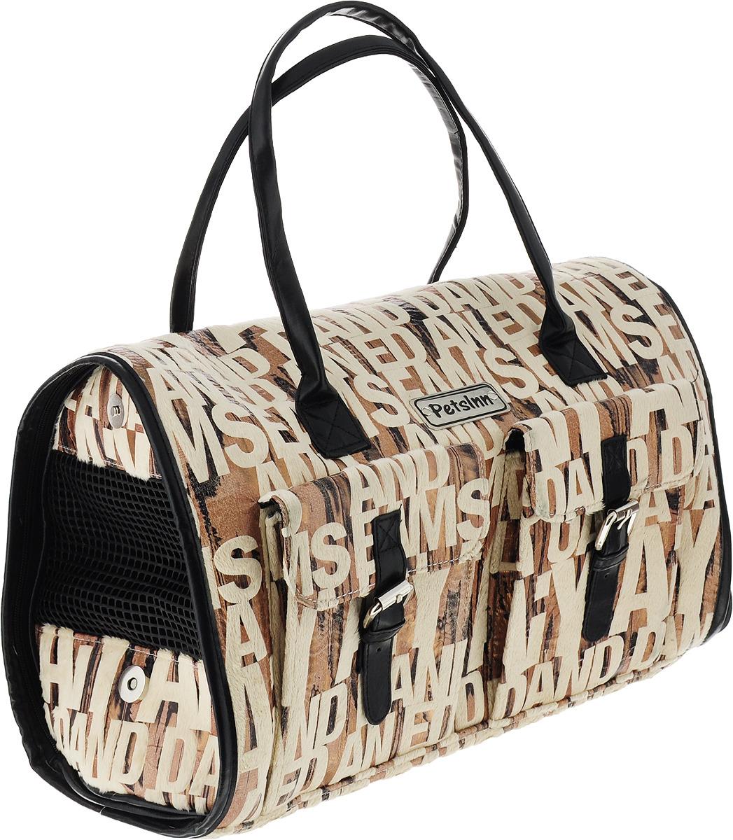 Сумка-переноска для животных Pets Inn, замшевая, цвет: леопард/буквы сумка переноска для животных pets inn цвет черный