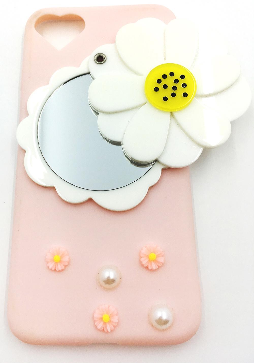 Чехол для сотового телефона Мобильная мода iPhone 7 Накладка 3D принт, зеркальце, шнурок, светло-розовый
