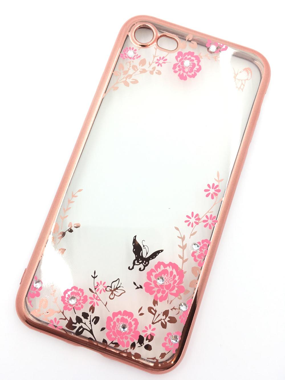 Чехол для сотового телефона Мобильная мода iPhone 7 Силиконовая прозрачная накладка со стразами, золотой, розовый, прозрачный чехол для сотового телефона мобильная мода meizu pro 6 силиконовая прозрачная накладка со стразами 6371g золотой