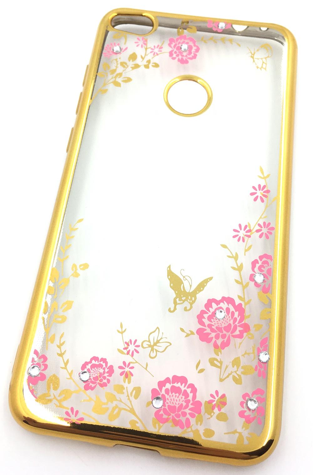 Чехол для сотового телефона Мобильная мода Honor 8 lite 2017 Силиконовая, прозрачная накладка со стразами, 6 340G, золотой чехол для сотового телефона мобильная мода meizu pro 6 силиконовая прозрачная накладка со стразами 6371g золотой