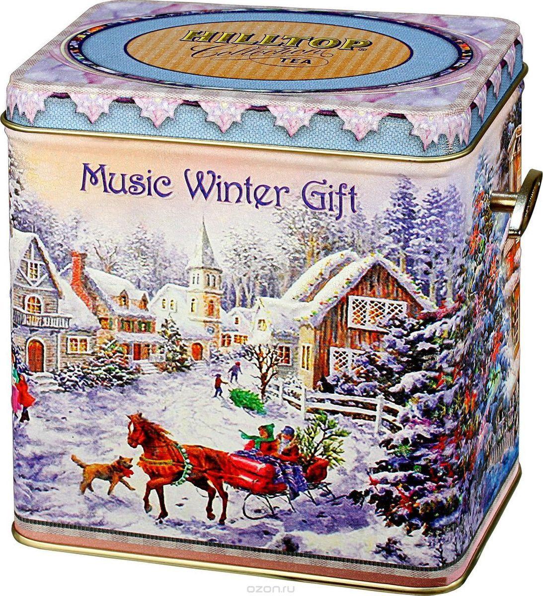 Hilltop Шкатулка Музыкальный зимний подарок Королевское золото черный листовой чай, 100 г шкатулка подарочная неупиваемая чаша черный листовой чай 100 г
