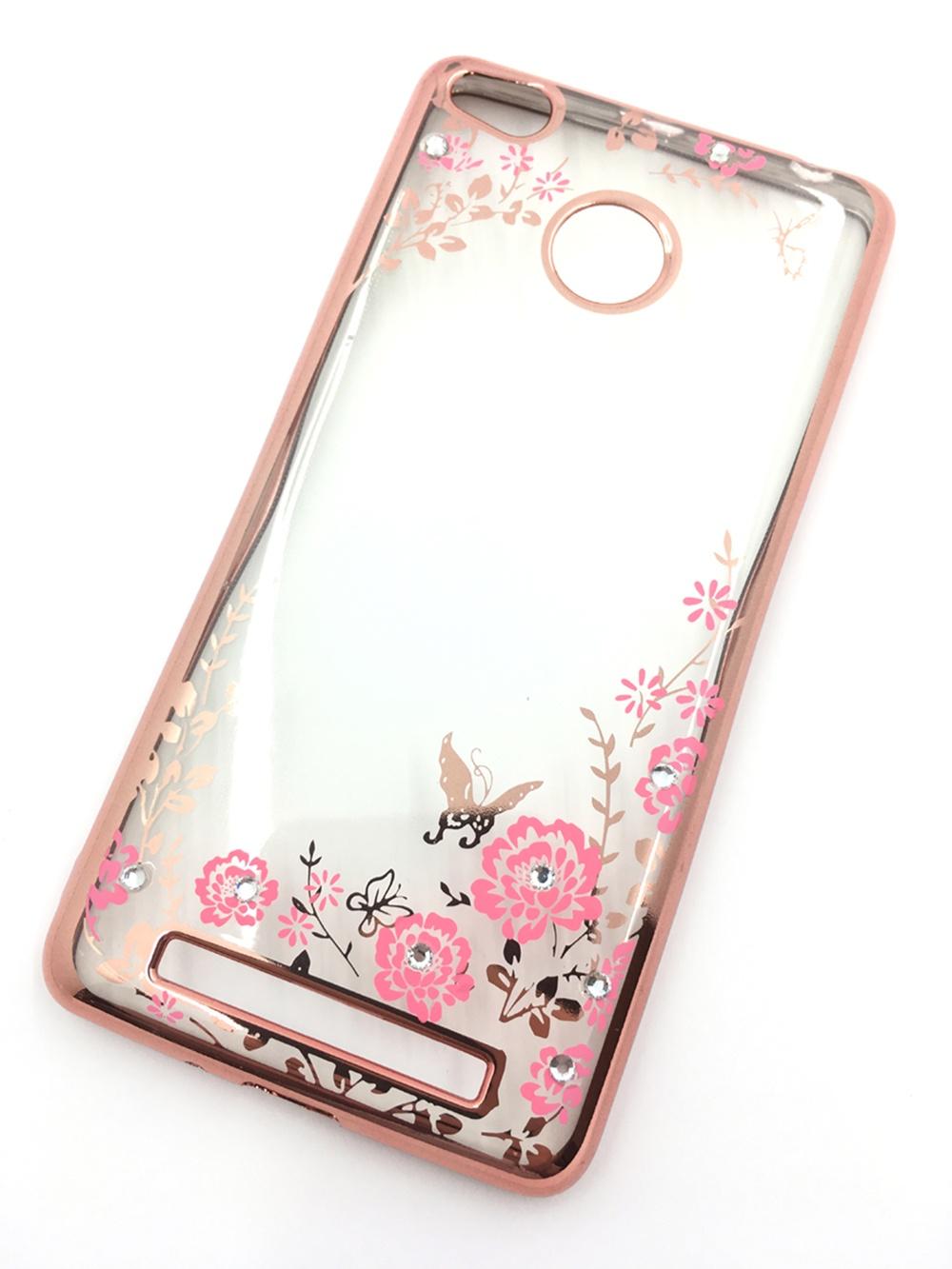 Чехол для сотового телефона Мобильная мода Xiaomi Redmi 3S Силиконовая, прозрачная накладка со стразами, 6 361G, розовый чехол для сотового телефона мобильная мода meizu pro 6 силиконовая прозрачная накладка со стразами 6371g золотой