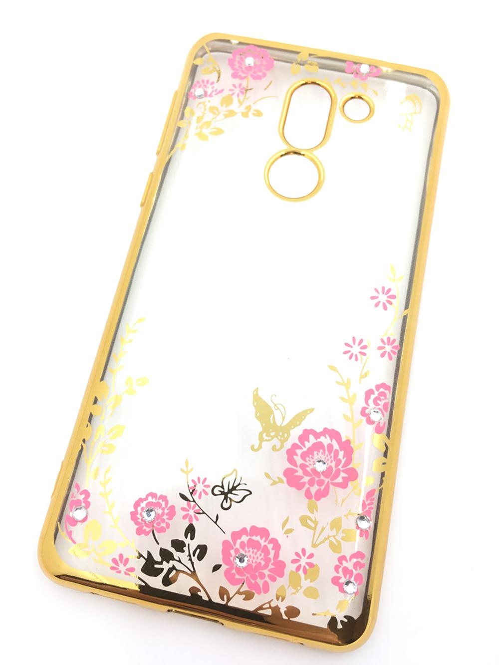 Чехол для сотового телефона Мобильная мода Huawei Honor 6X Силиконовая, прозрачная накладка со стразами, золотой