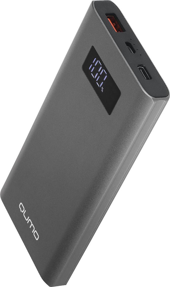 Внешний аккумулятор Qumo PowerAid, P10000 V2 QC/PD, 10000 мАч, серый металлик цена и фото