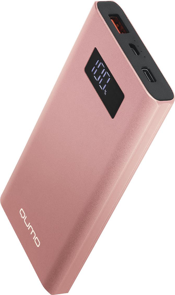 Внешний аккумулятор Qumo PowerAid, P10000 V2 QC/PD, 10000 мАч, розовый цена и фото