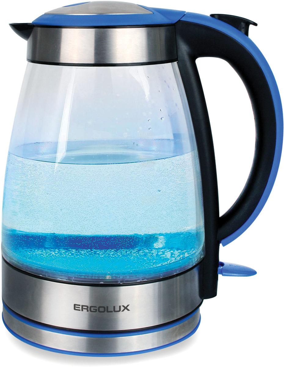 Электрический чайник Ergolux 13445, синий цена 2017