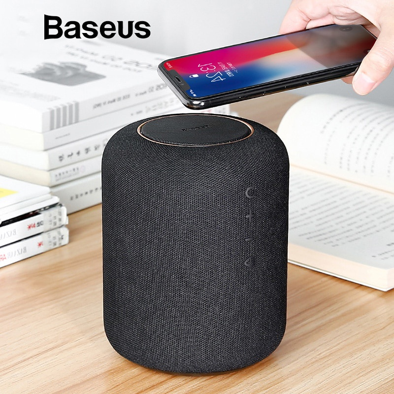 Bluetooth акустика Baseus Encok E50 Wireless Charging Bluetooth Speaker c беспроводной зарядкой, 1187, черный