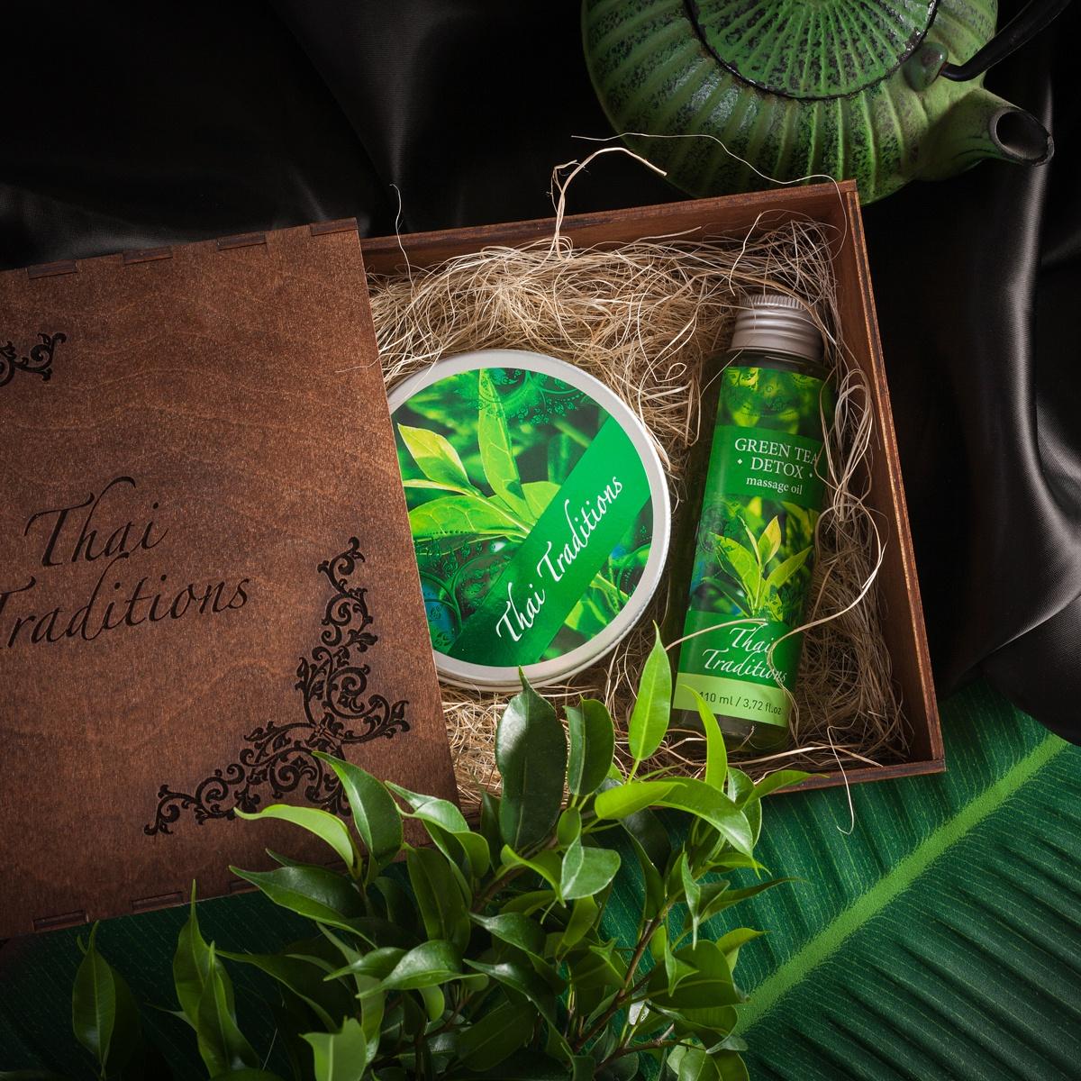Подарочный набор для тела Thai Traditions Зеленый Чай Детокс, Массажное масло, 110 мл + Скраб-гель для тела, 200 мл подарочный чай для работников загса зеленый