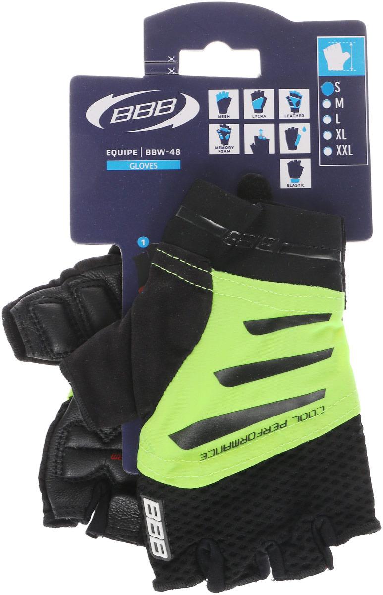 Перчатки велосипедные BBB 2018 Equipe, цвет: черный, неоновый желтый. Размер S