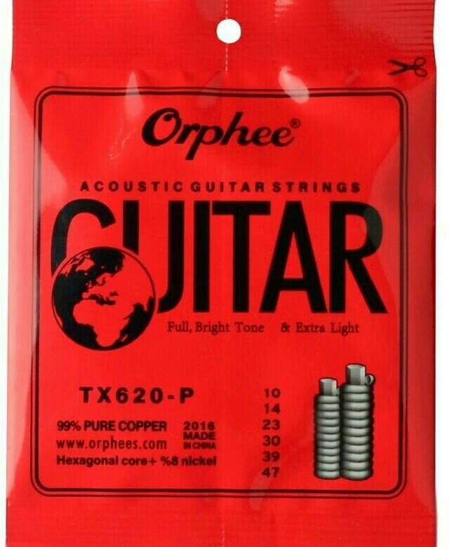 Струны для акустической гитары Orphee TX-620-P, MF00725SR-01S 1/2-1/4Струны для акустической гитары Струны имеют звонкое, глубокое звучание, подходят для новичков и любителей Обладают высокой прочностью, четким и глубоким тембромМатериал: 1-2 струна - сталь, 3-6 струны 99 % медьШестигранная стальная сердцевинаНатяжение extra lightРазмерE/010/0.25; B/014/0.36; G/023/0.58; D/030/0.76; A/039/0.99; E/047/1.20Защита от коррозииВакуумная упаковкаДля удобства все струны пронумерованы