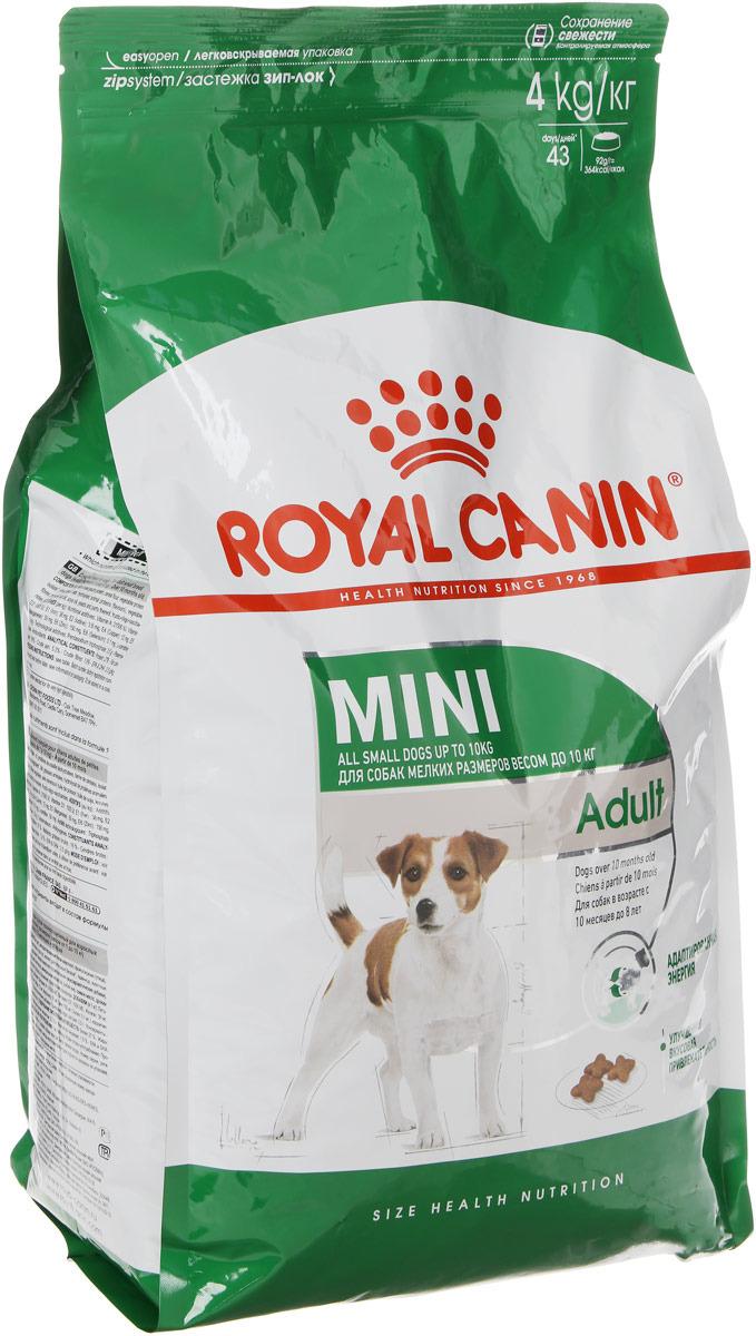 Корм сухой Royal Canin Mini Adult, для собак мелких размеров с 10 месяцев до 8 лет, 4 кг корм сухой royal canin mini adult для собак мелких размеров с 10 месяцев до 8 лет 4 кг