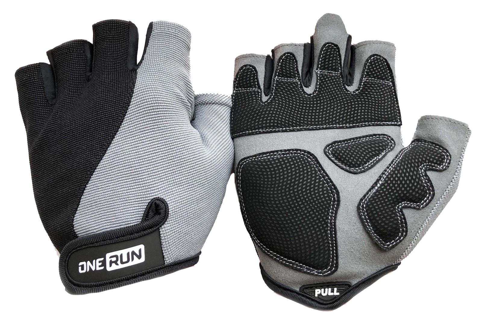 Перчатки для фитнеса OneRun мужские, 16-1562G-S, серый, черный, размер S
