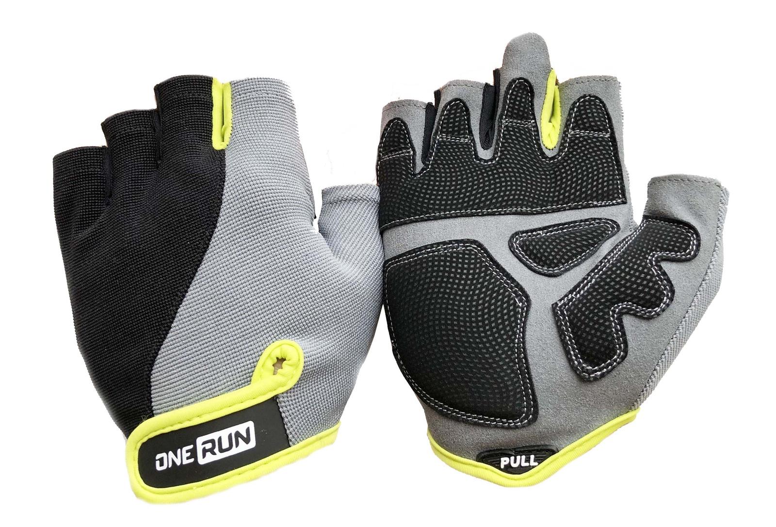 Перчатки для фитнеса OneRun мужские, 16-1562F-L, салатовый, серый, черный, размер L перчатки рабочие кожа спандекс l